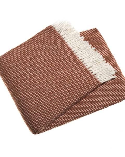 Euromant Terakotovohnedý pléd vo farbe terakota s podielom bavlny Euromant Ruby, 140 × 160 cm