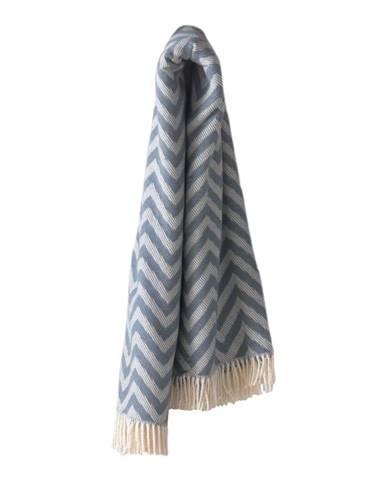 Modrý pléd s podielom bavlny Euromant Chevron, 140 × 160 cm