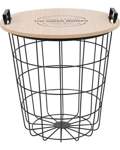 Tempo Kondela Príručný stolík, prírodná vzor/čierna, NANDO