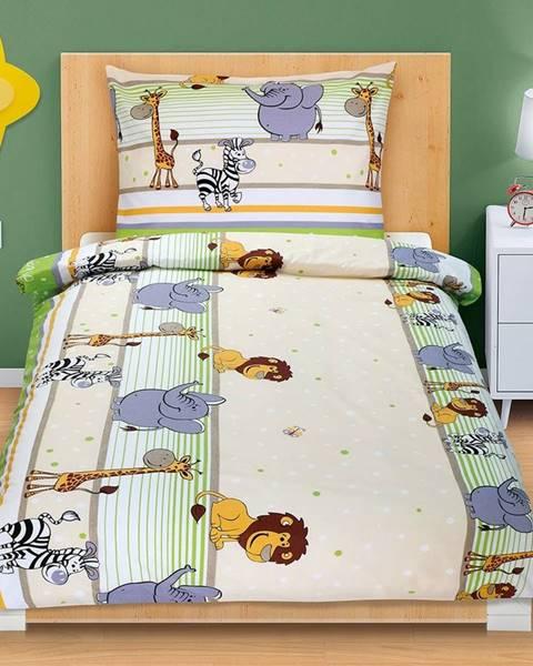 Bellatex Bellatex Bavlnené obliečky Safari svetlozelená, 140 x 200, 70 x 90 cm
