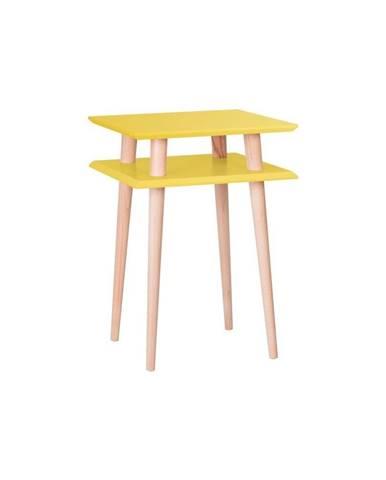 Žltý odkladací stolík Ragaba Square, 43×43cm