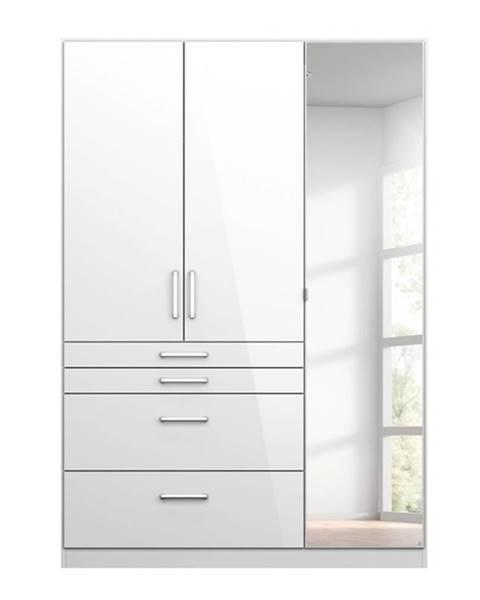 Sconto Šatníková skriňa HAYDEN biela vysoký lesk, 3-dverová so zrkadlom