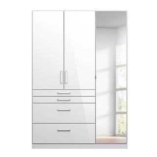 Šatníková skriňa HAYDEN biela vysoký lesk, 3-dverová so zrkadlom
