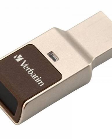 USB flash disk Verbatim Fingerprint Secure, 32GB strieborný