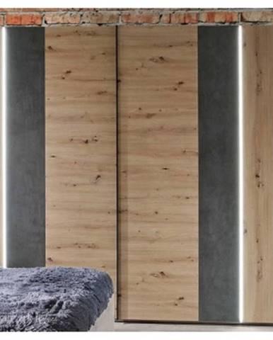 Šatníková skriňa Fossano, 270 cm, s osvetlením%