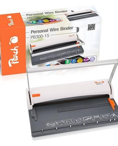 Viazač Peach PB300-15 Wire Binder, manuální, s děrovačem biely