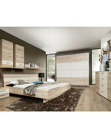 Spálňová zostava (skriňa/posteľ/2ks nočný stolík) dub piesková/biela VALERIA