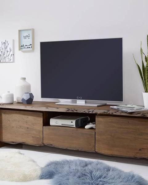 Bighome.sk WOODLAND TV stolík II. 191x50 cm, tmavohnedá, akácia