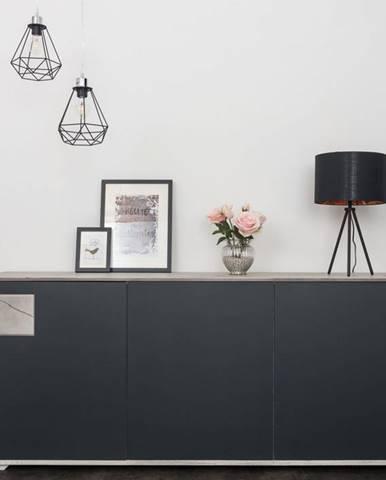 TAMPERE Komoda 78x180 cm, dub, svetlosivá