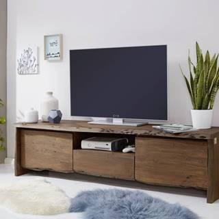 WOODLAND TV stolík II. 191x50 cm, tmavohnedá, akácia
