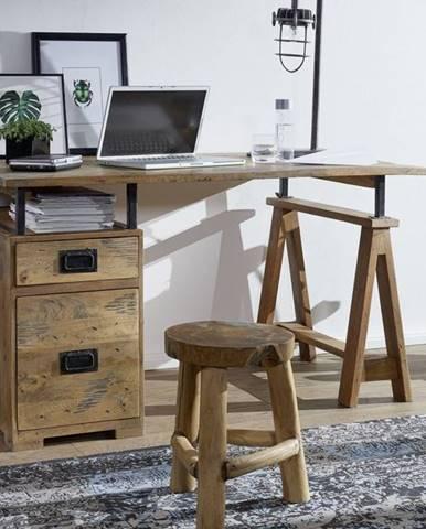 IRON Písací stôl 140x78 cm, mango, prírodná