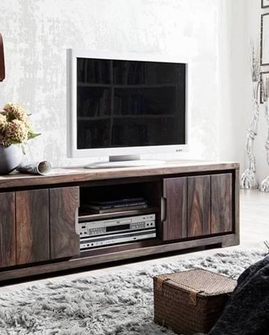 PLAIN SHEESHAM TV stolík so skrinkami 150x45 cm, palisander