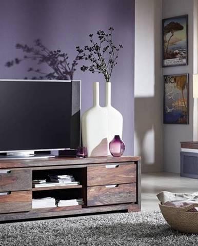 PLAIN SHEESHAM TV stolík so zásuvkami 150x45 cm, palisander