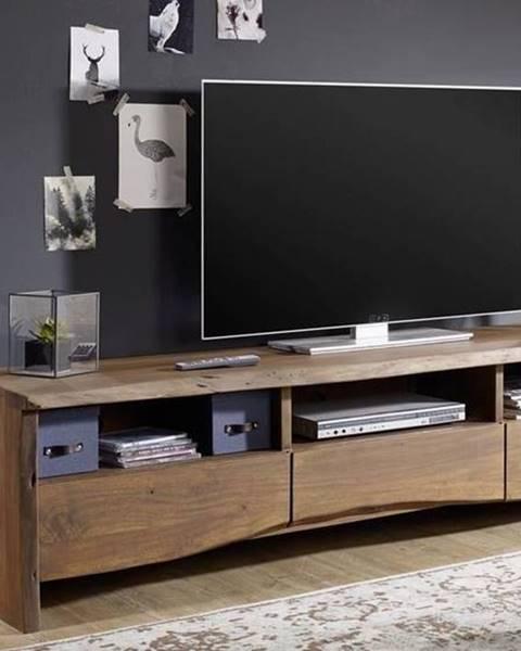 Bighome.sk WOODLAND TV stolík 191x50 cm, tmavohnedá, akácia