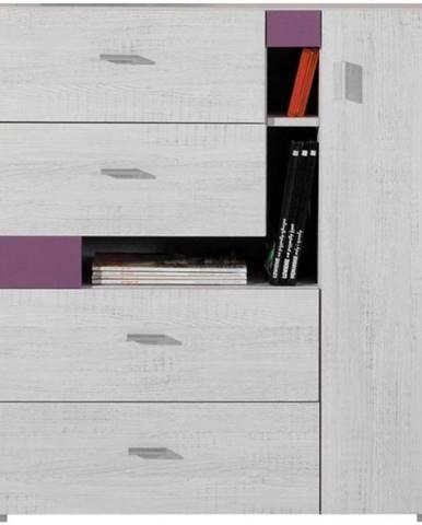 Komoda Next NX-11 borovica biela/viola