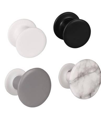 Věšák jednoduchý marbi 4ks bíly/černý/šedý/mramor