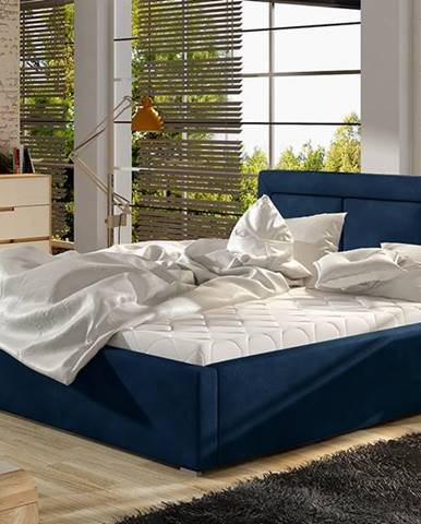 Branco UP 140 čalúnená manželská posteľ s roštom tmavomodrá