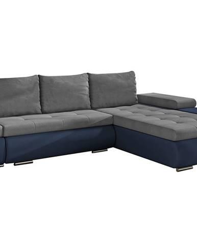 Oristano P rohová sedačka s rozkladom a úložným priestorom sivá