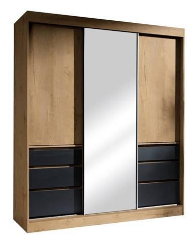 Romualda 180 šatníková skriňa s posuvnými dverami a zrkadlom dub lefkas