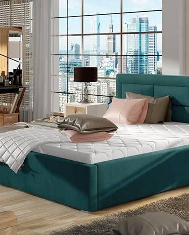 Rovigo 200 čalúnená manželská posteľ s roštom tyrkysová