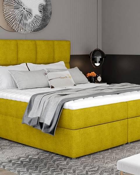 NABBI Grosio 185 čalúnená manželská posteľ s úložným priestorom žltá