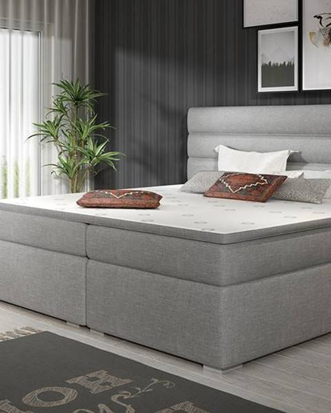 NABBI Spezia 160 čalúnená manželská posteľ s úložným priestorom svetlosivá (Sawana 21)