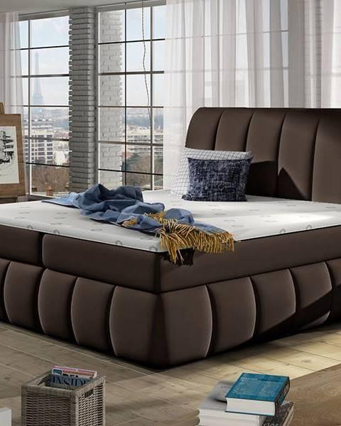 NABBI Vareso 180 čalúnená manželská posteľ s úložným priestorom tmavohnedá (Soft 66)