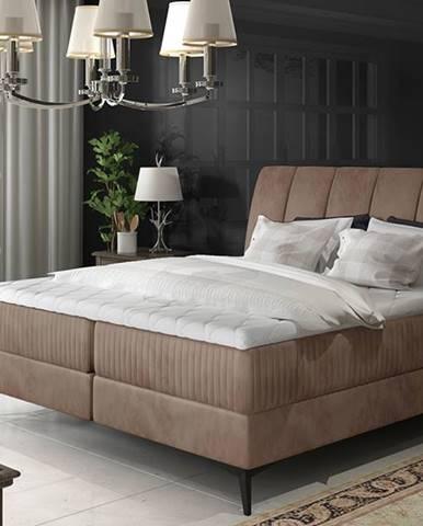 Altama 140 čalúnená manželská posteľ s úložným priestorom hnedá