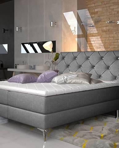 Amika 180 čalúnená manželská posteľ s úložným priestorom sivá