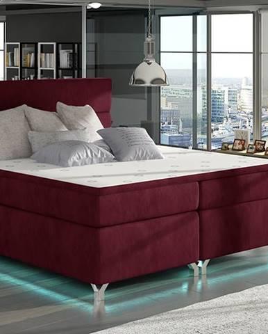 Avellino 140 čalúnená manželská posteľ s úložným priestorom bordová