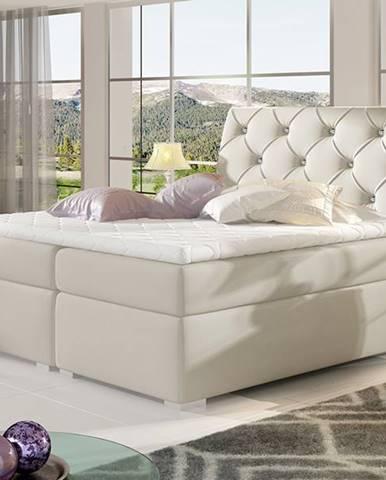 Beneto 160 čalúnená manželská posteľ s úložným priestorom béžová