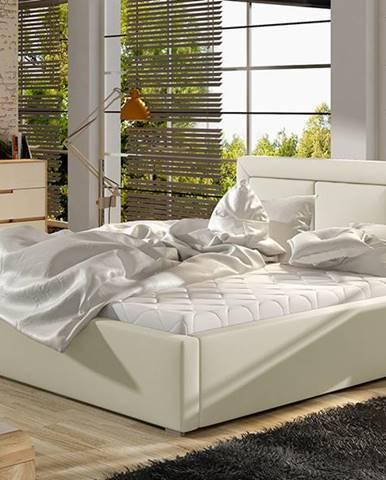 Branco UP 160 čalúnená manželská posteľ s roštom béžová
