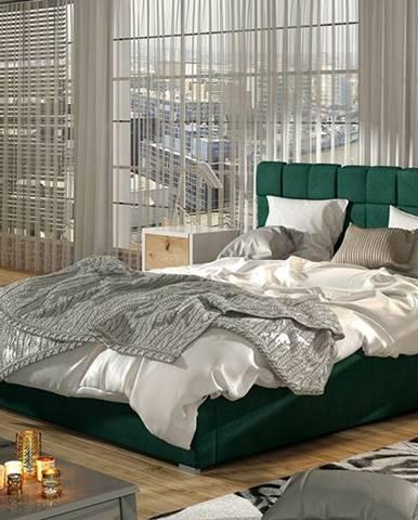 Galimo UP 180 čalúnená manželská posteľ s roštom tmavozelená