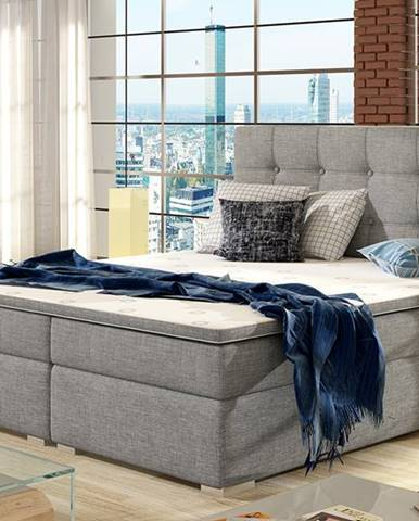 Isola 160 čalúnená manželská posteľ svetlosivá
