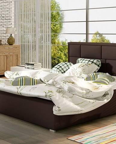 Liza UP 140 čalúnená manželská posteľ s roštom tmavohnedá (Soft 66)