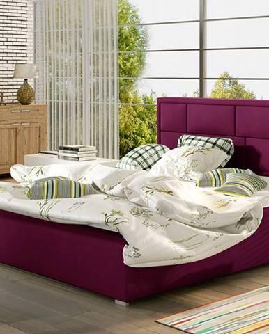 Liza UP 180 čalúnená manželská posteľ s roštom vínová