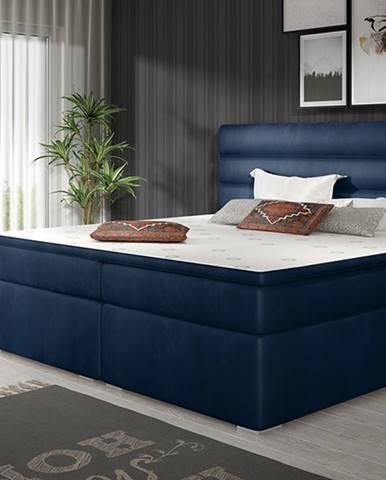 Spezia 140 čalúnená manželská posteľ s úložným priestorom tmavomodrá