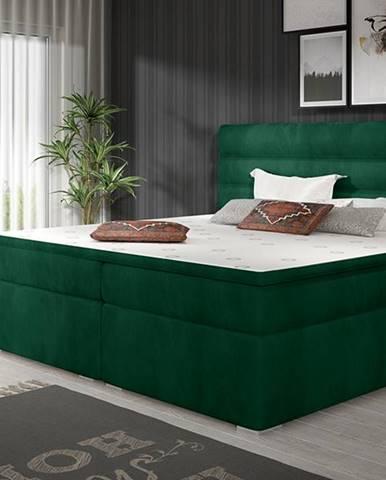 Spezia 180 čalúnená manželská posteľ s úložným priestorom tmavozelená