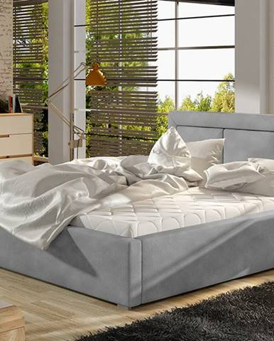 Branco UP 140 čalúnená manželská posteľ s roštom svetlosivá (Paros 05)