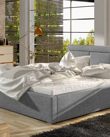 Branco UP 180 čalúnená manželská posteľ s roštom svetlosivá (Sawana 21)