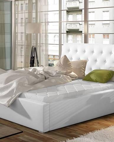 Monzo UP 200 čalúnená manželská posteľ s roštom biela