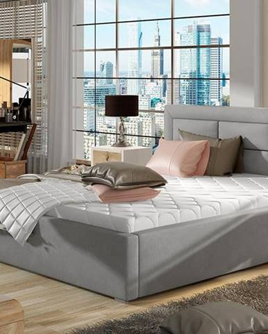 Rovigo UP 180 čalúnená manželská posteľ s roštom svetlosivá (Paros 05)