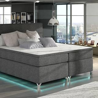 Avellino 160 čalúnená manželská posteľ s úložným priestorom sivá (Sawana 05)