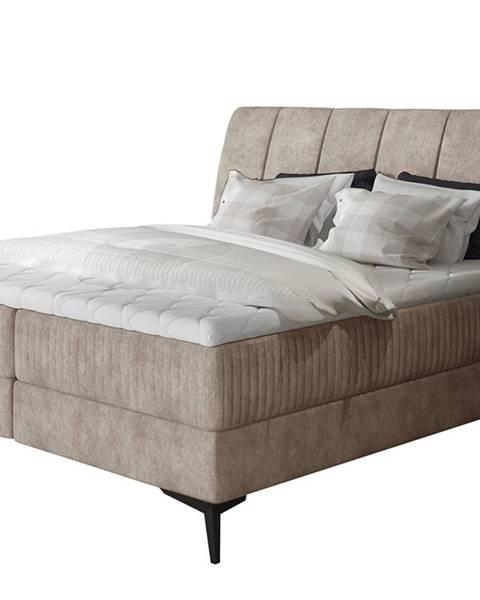 NABBI Altama 180 čalúnená manželská posteľ s úložným priestorom béžová