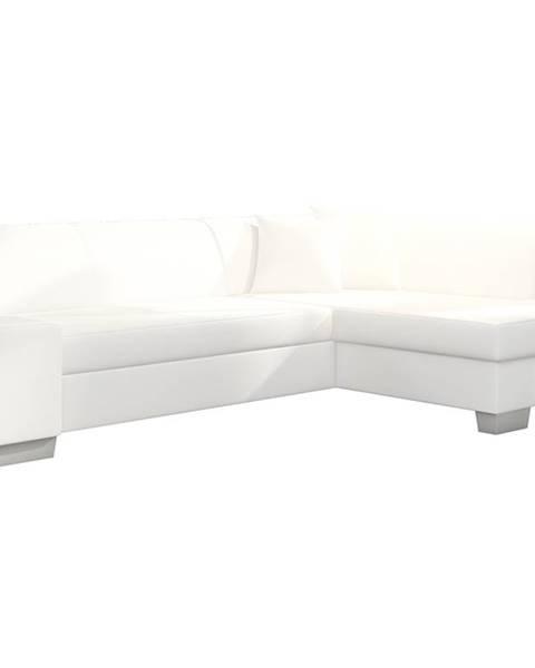 NABBI Ferol P rohová sedačka s rozkladom a úložným priestorom biela
