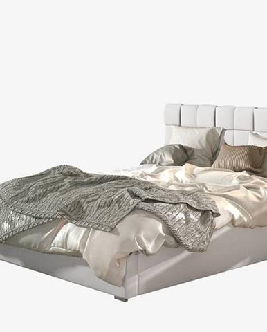 Galimo 140 čalúnená manželská posteľ s roštom biela