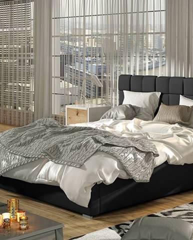 Galimo UP 180 čalúnená manželská posteľ s roštom čierna