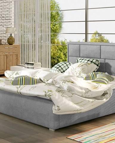 Liza UP 180 čalúnená manželská posteľ s roštom svetlosivá (Paros 05)