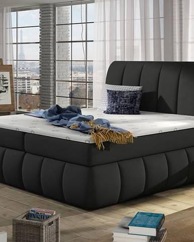 Vareso 140 čalúnená manželská posteľ s úložným priestorom čierna (Sawana 14)