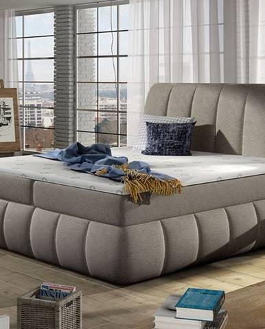 Vareso 140 čalúnená manželská posteľ s úložným priestorom svetlohnedá (Dora 22)